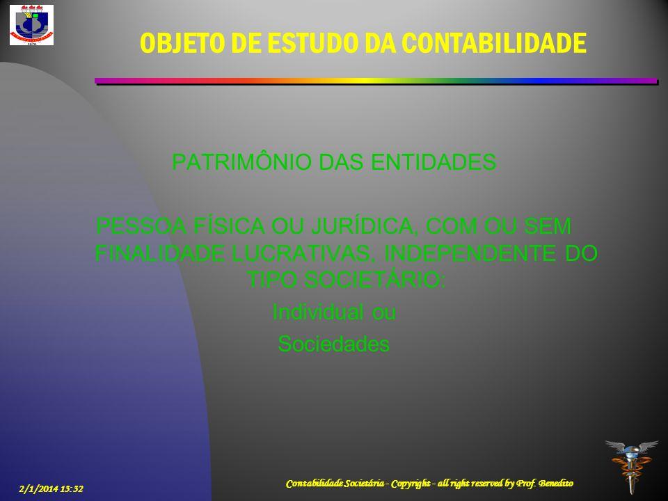 OBJETO DE ESTUDO DA CONTABILIDADE