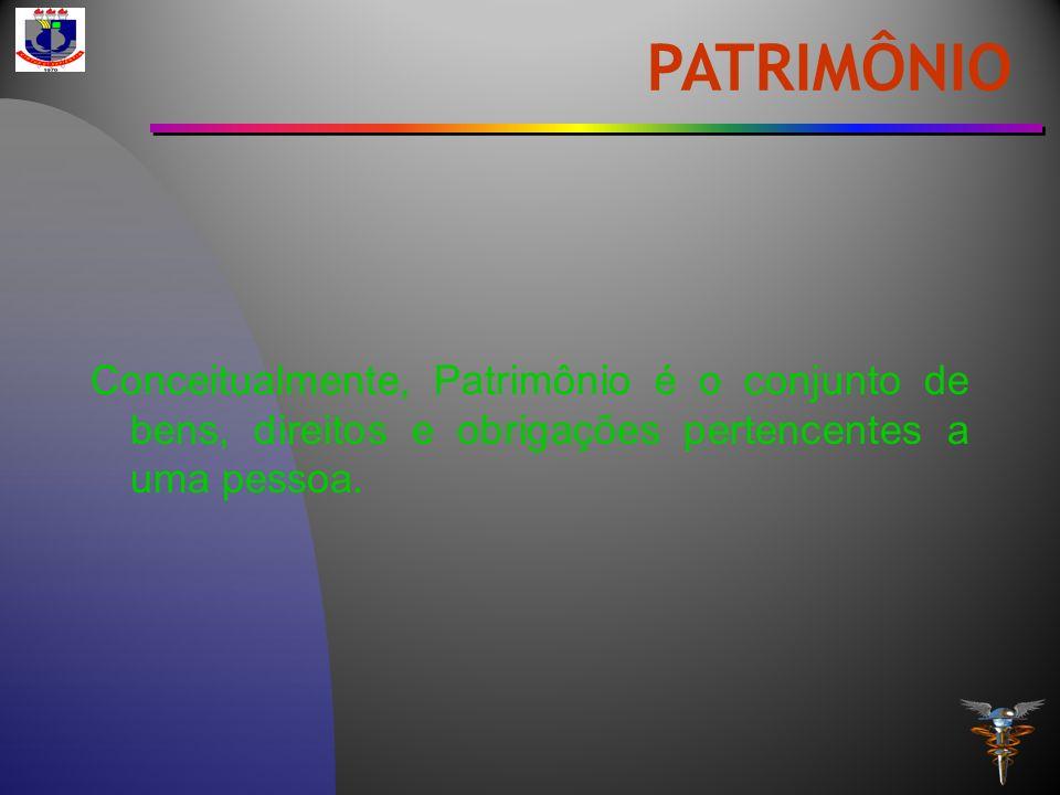 PATRIMÔNIO Conceitualmente, Patrimônio é o conjunto de bens, direitos e obrigações pertencentes a uma pessoa.