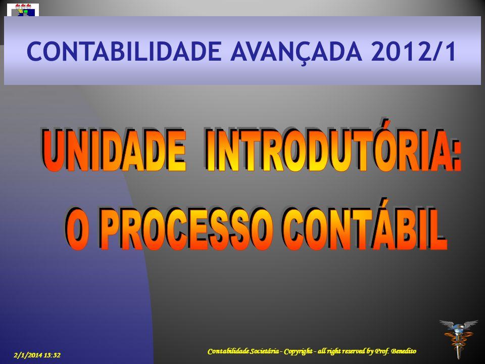 CONTABILIDADE AVANÇADA 2012/1 UNIDADE INTRODUTÓRIA: