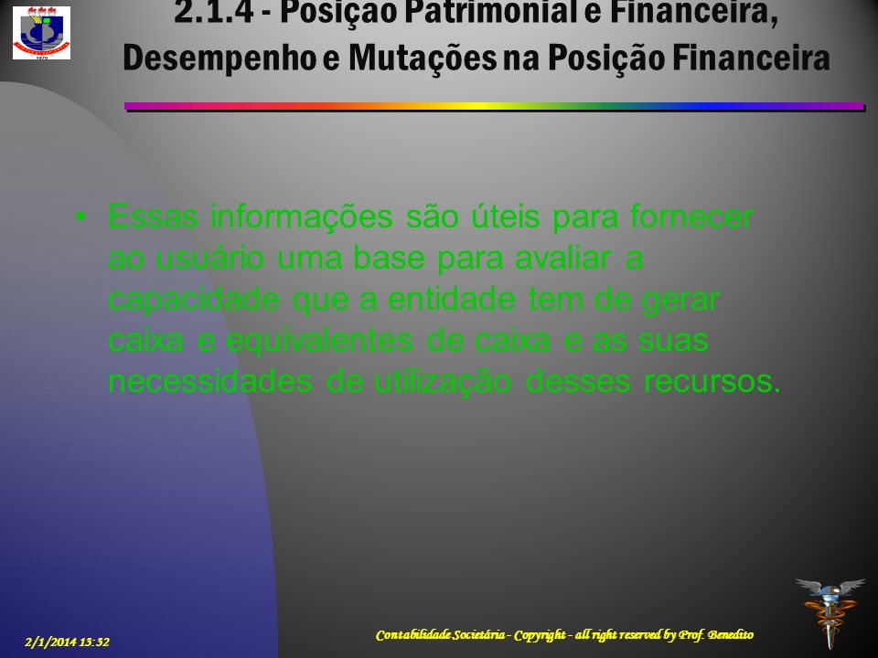 2.1.4 - Posição Patrimonial e Financeira, Desempenho e Mutações na Posição Financeira