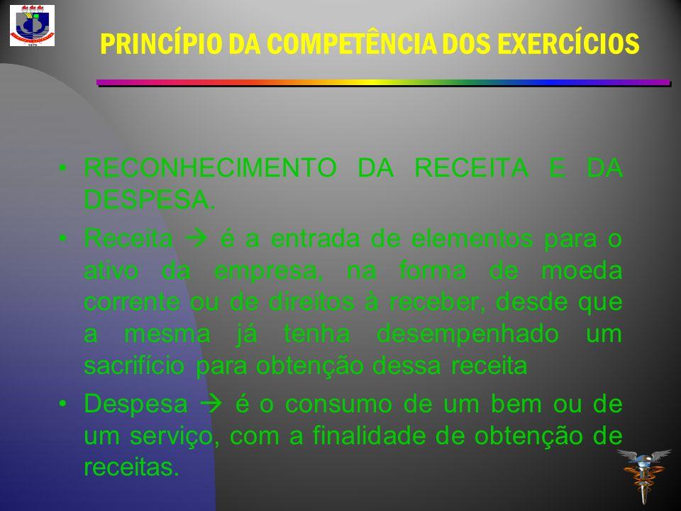 PRINCÍPIO DA COMPETÊNCIA DOS EXERCÍCIOS