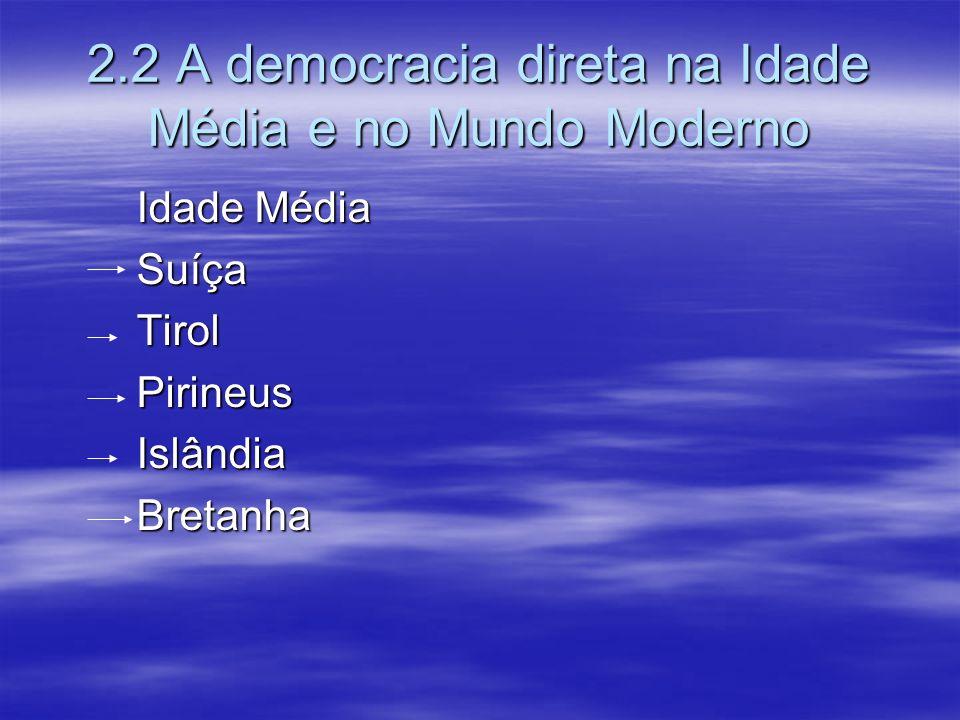 2.2 A democracia direta na Idade Média e no Mundo Moderno