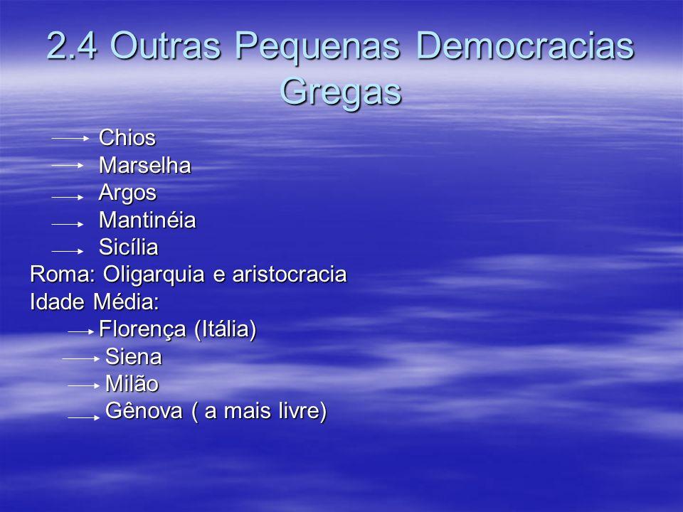 2.4 Outras Pequenas Democracias Gregas