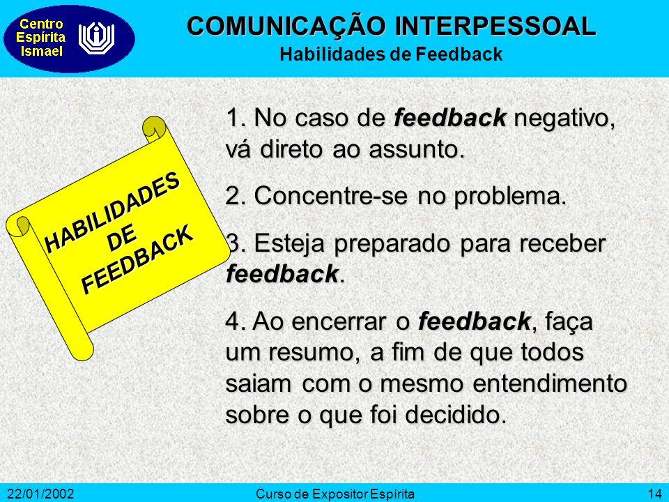 COMUNICAÇÃO INTERPESSOAL Habilidades de Feedback