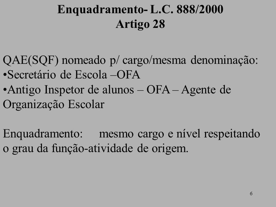 Enquadramento- L.C. 888/2000 Artigo 28. QAE(SQF) nomeado p/ cargo/mesma denominação: Secretário de Escola –OFA.