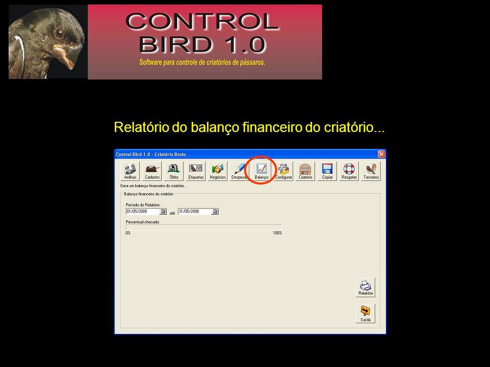 Relatório do balanço financeiro do criatório...