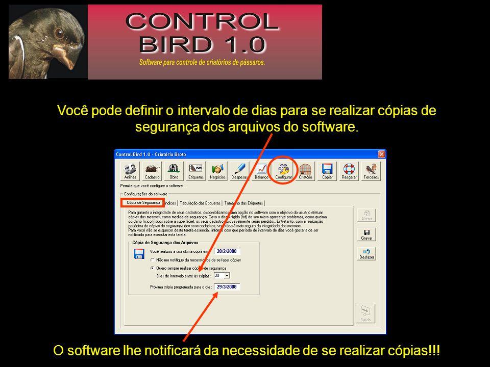 O software lhe notificará da necessidade de se realizar cópias!!!