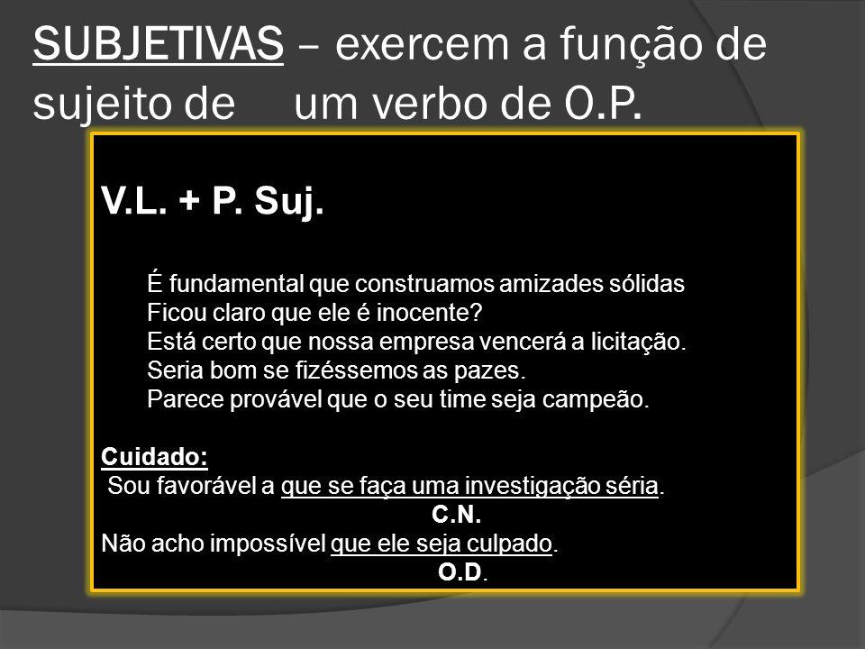 SUBJETIVAS – exercem a função de sujeito de um verbo de O.P.