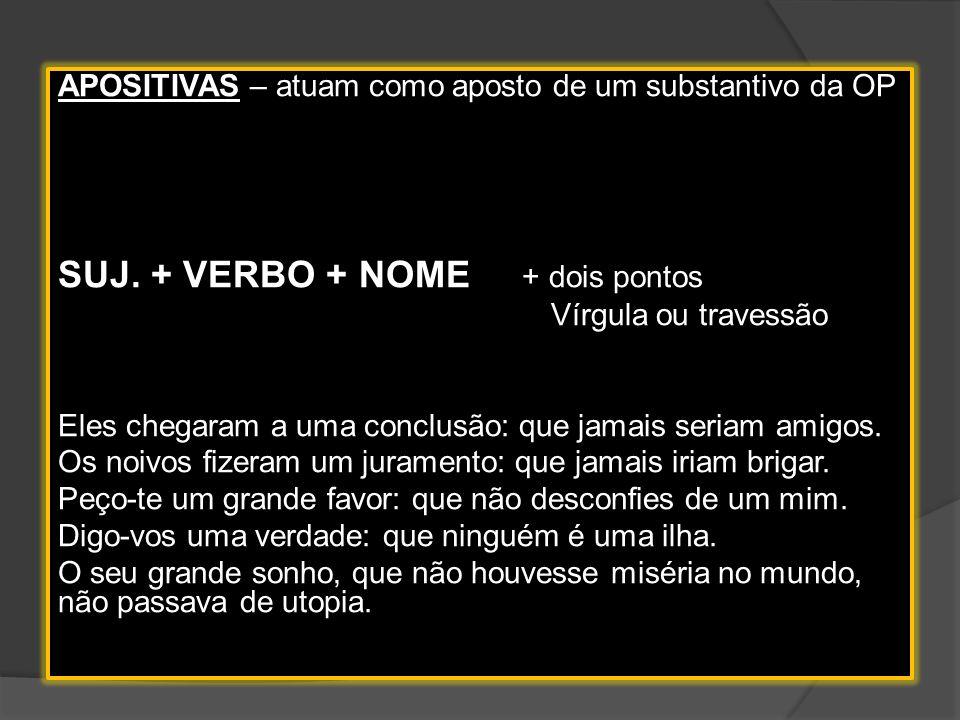 SUJ. + VERBO + NOME + dois pontos