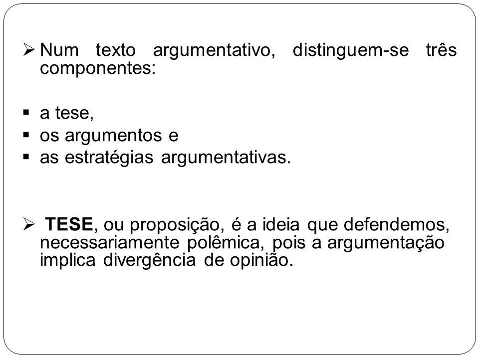 Num texto argumentativo, distinguem-se três componentes: