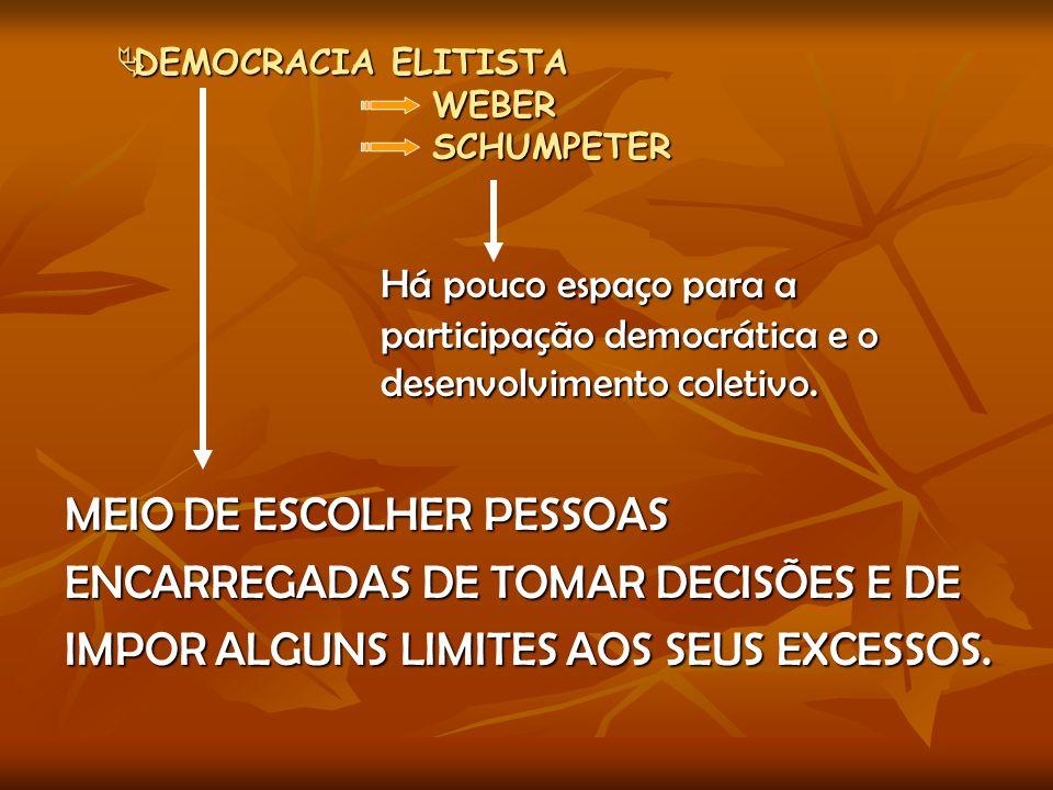 DEMOCRACIA ELITISTA WEBER SCHUMPETER