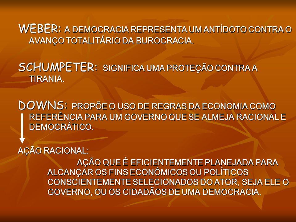SCHUMPETER: SIGNIFICA UMA PROTEÇÃO CONTRA A TIRANIA.