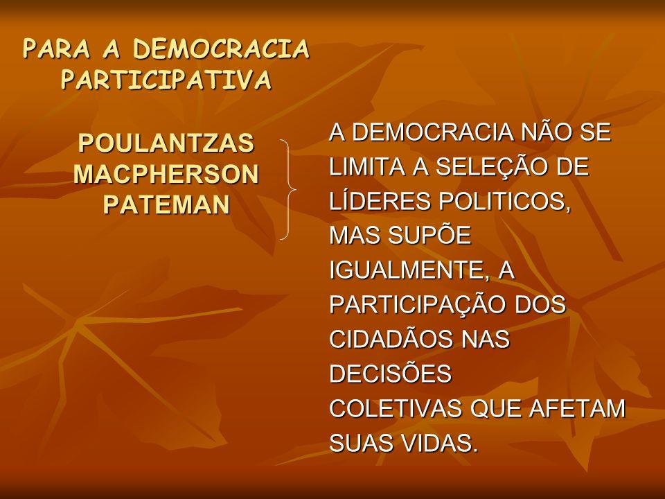 PARA A DEMOCRACIA PARTICIPATIVA POULANTZAS MACPHERSON PATEMAN