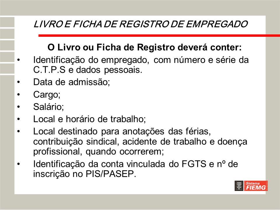 LIVRO E FICHA DE REGISTRO DE EMPREGADO