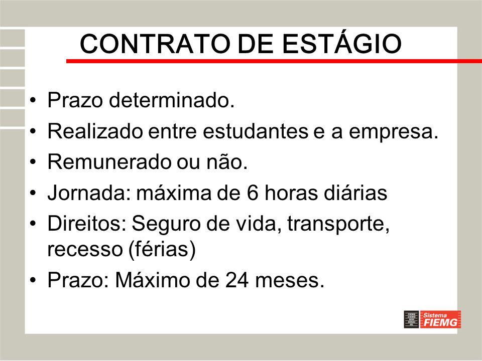 CONTRATO DE ESTÁGIO Prazo determinado.