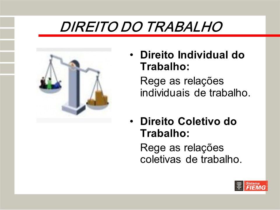 DIREITO DO TRABALHO Direito Individual do Trabalho: