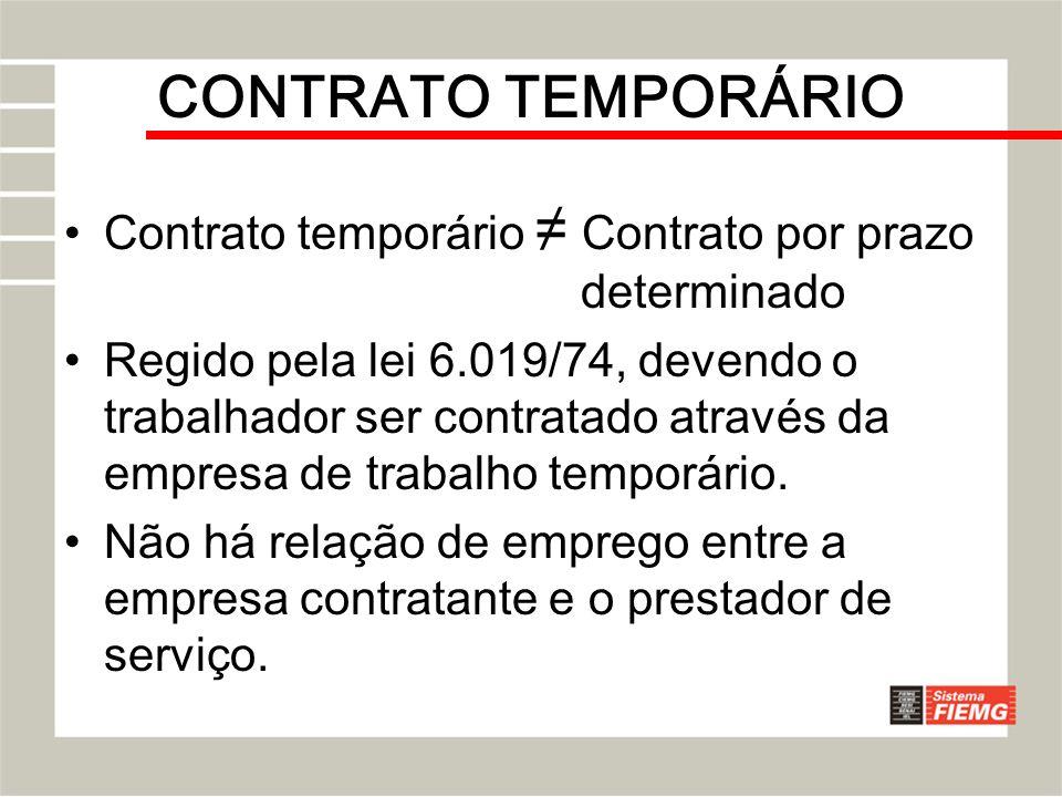 CONTRATO TEMPORÁRIO Contrato temporário ≠ Contrato por prazo determinado.