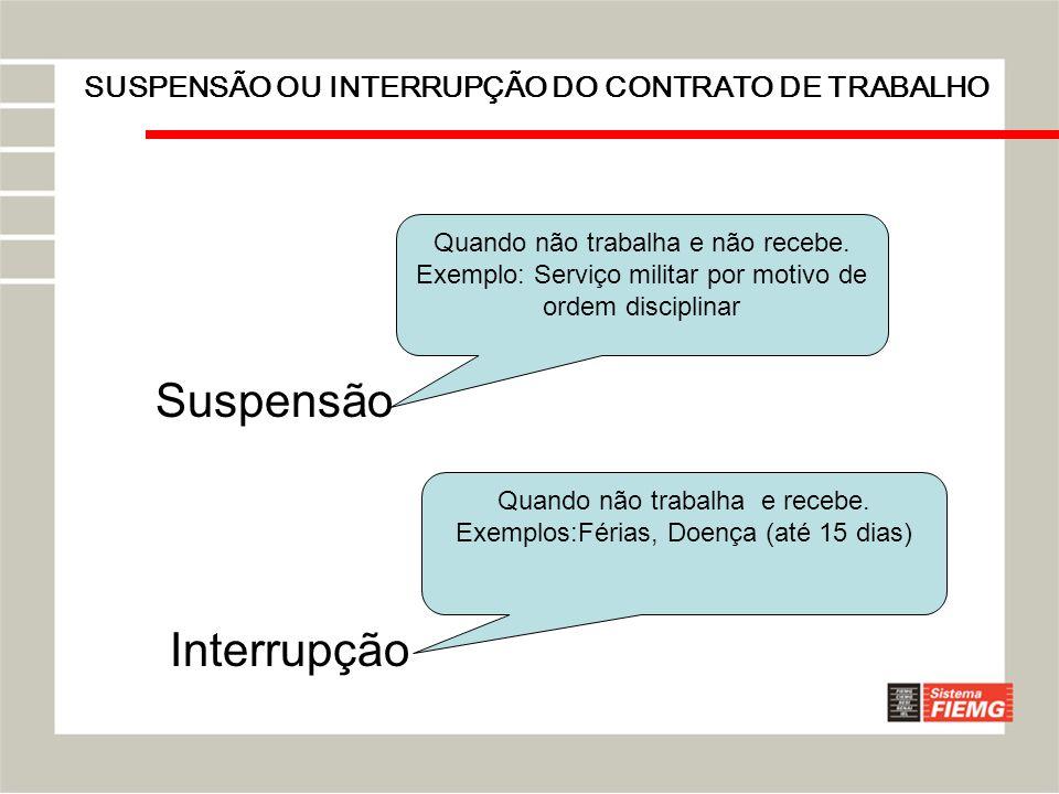 SUSPENSÃO OU INTERRUPÇÃO DO CONTRATO DE TRABALHO