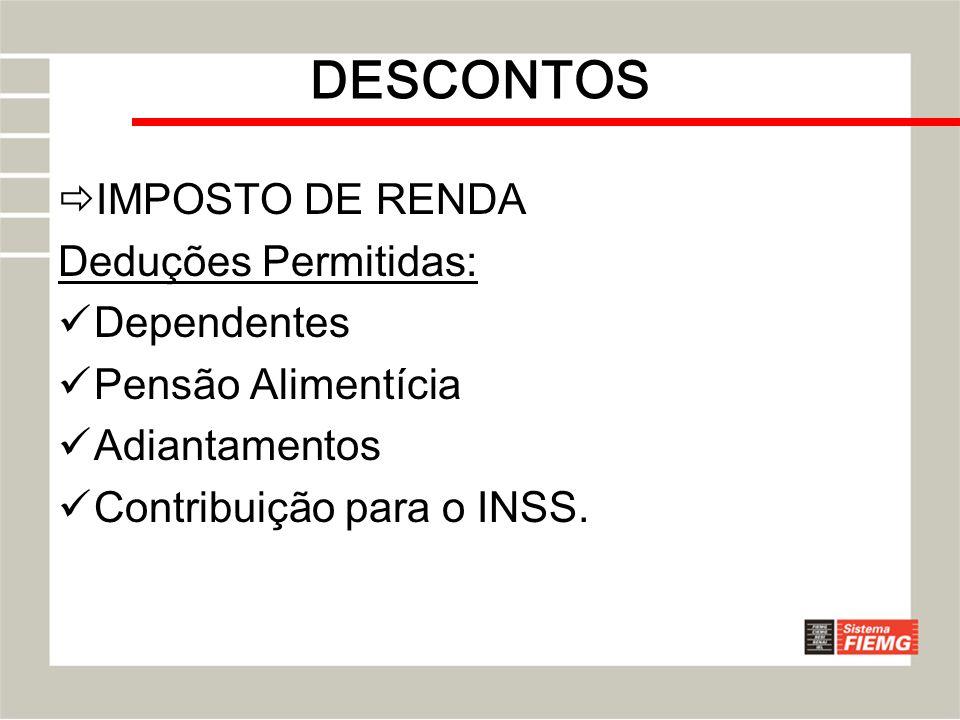 DESCONTOS IMPOSTO DE RENDA Deduções Permitidas: Dependentes