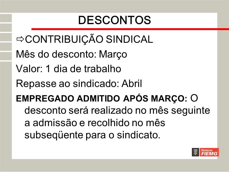 DESCONTOS CONTRIBUIÇÃO SINDICAL Mês do desconto: Março