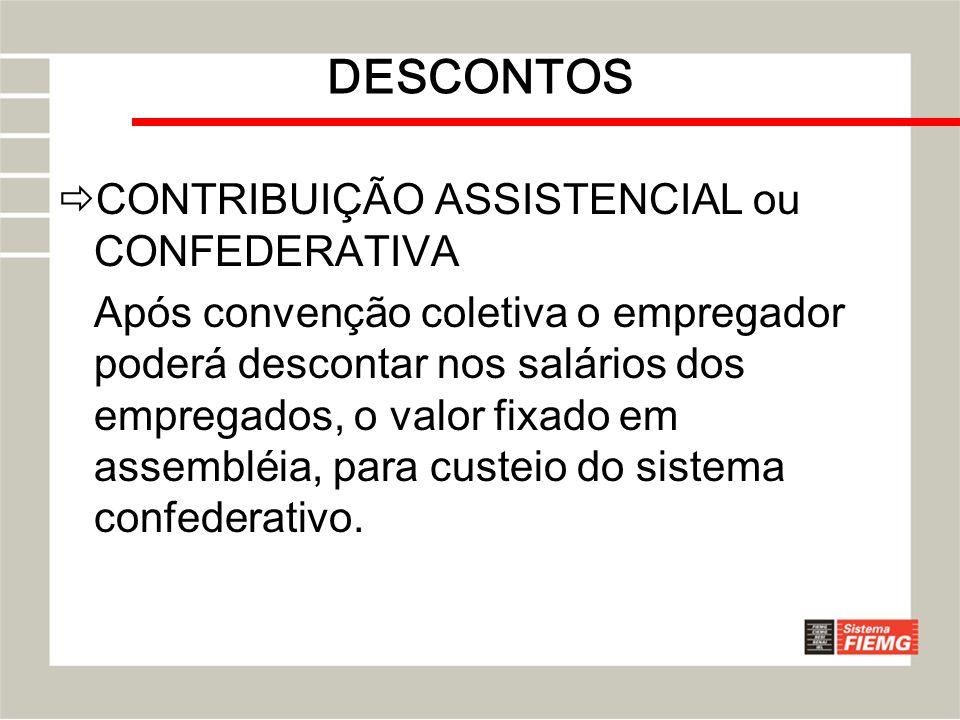 DESCONTOS CONTRIBUIÇÃO ASSISTENCIAL ou CONFEDERATIVA