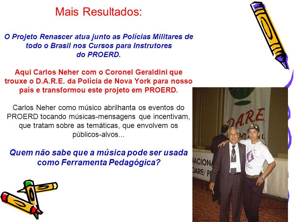 Mais Resultados: O Projeto Renascer atua junto as Polícias Militares de todo o Brasil nos Cursos para Instrutores do PROERD.