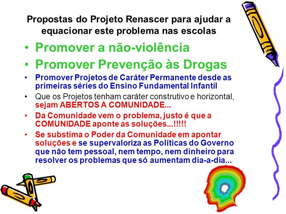 Promover a não-violência Promover Prevenção às Drogas