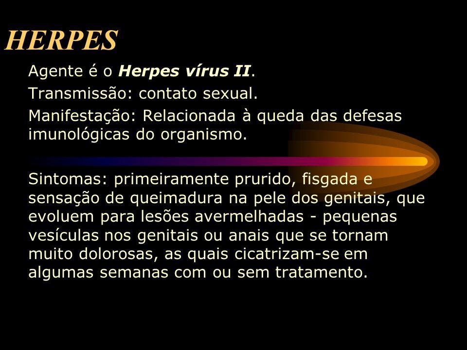 HERPES Agente é o Herpes vírus II. Transmissão: contato sexual.