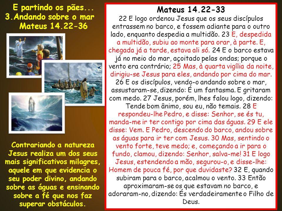 E partindo os pães... Mateus 14.22-36 Mateus 14.22-33