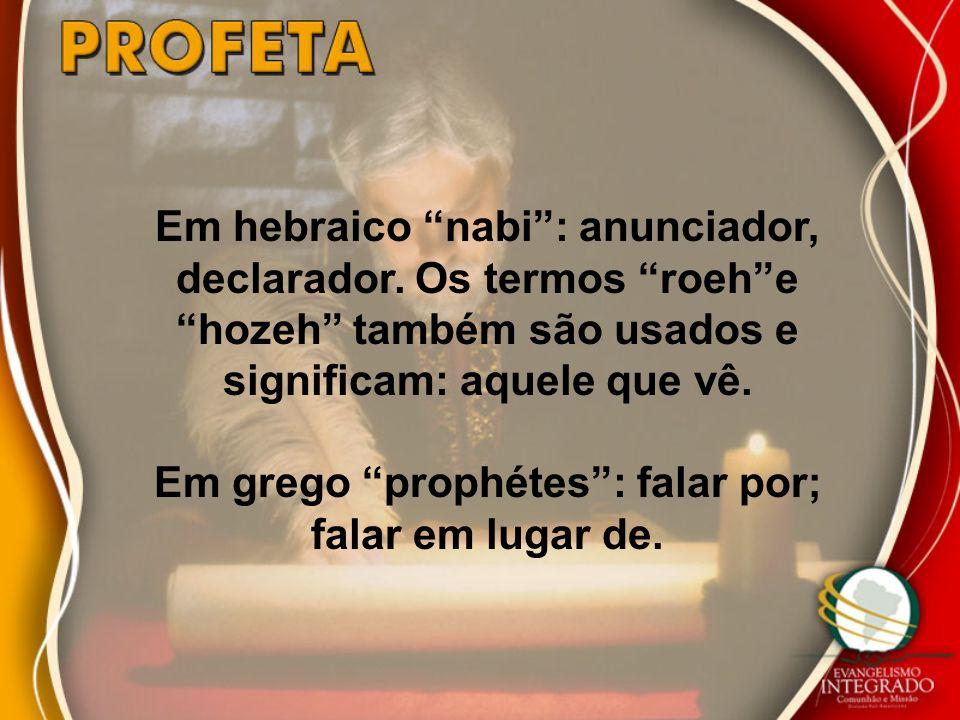 Em grego prophétes : falar por; falar em lugar de.