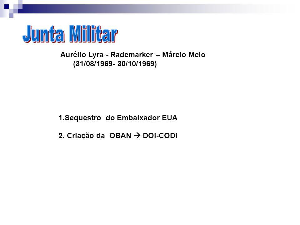 Junta MilitarAurélio Lyra - Rademarker – Márcio Melo. (31/08/1969- 30/10/1969) 1.Sequestro do Embaixador EUA.
