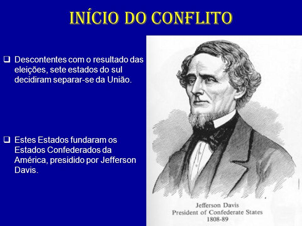 INÍCIO DO CONFLITO Descontentes com o resultado das eleições, sete estados do sul decidiram separar-se da União.