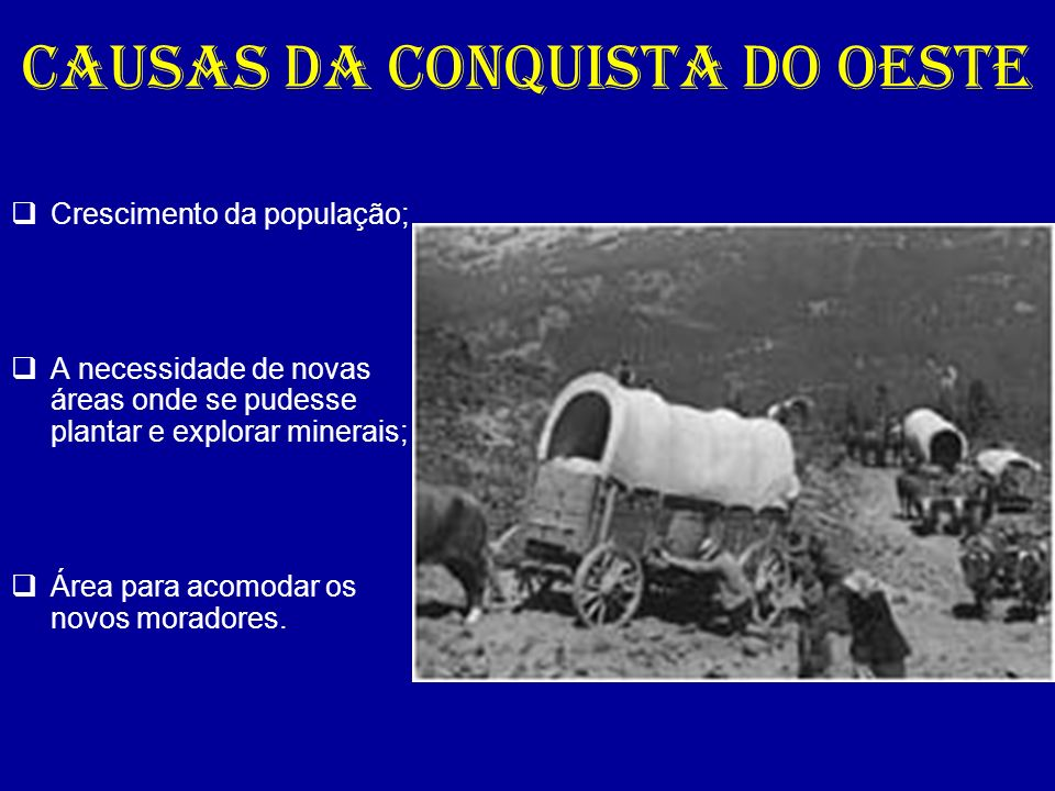 CAUSAS DA CONQUISTA DO OESTE