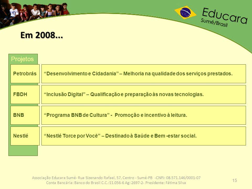 Em 2008...Projetos. Petrobrás. Desenvolvimento e Cidadania – Melhoria na qualidade dos serviços prestados.