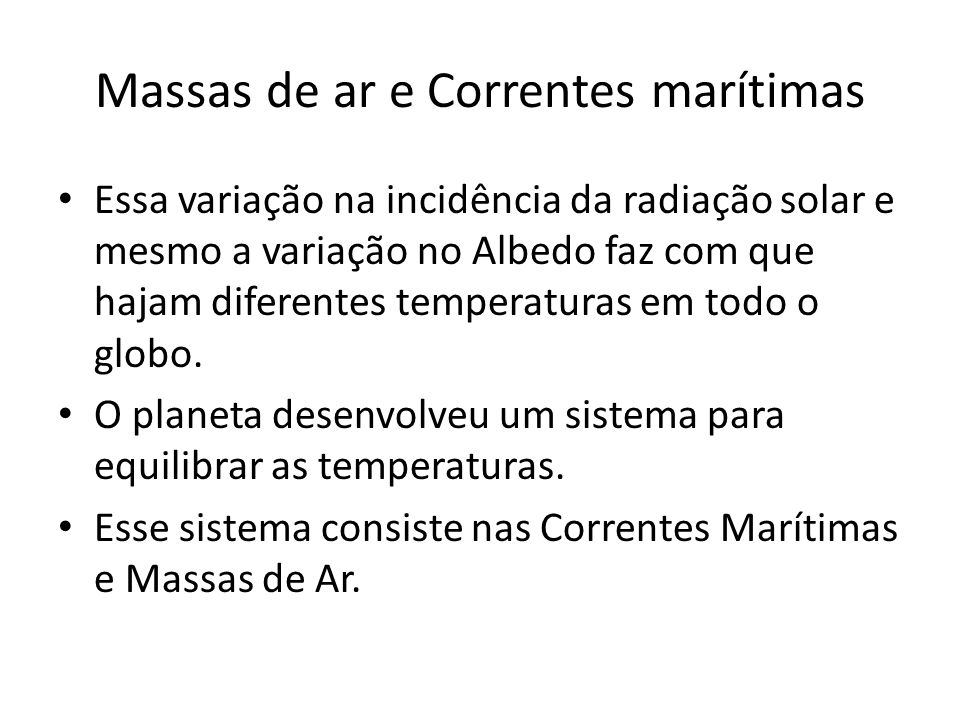 Massas de ar e Correntes marítimas