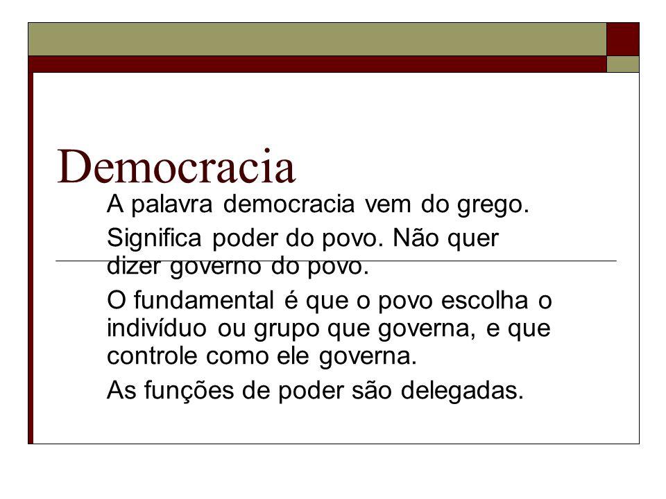 Democracia A palavra democracia vem do grego.