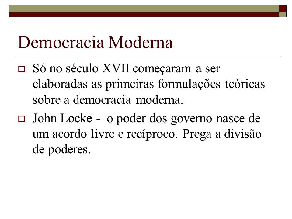 Democracia Moderna Só no século XVII começaram a ser elaboradas as primeiras formulações teóricas sobre a democracia moderna.