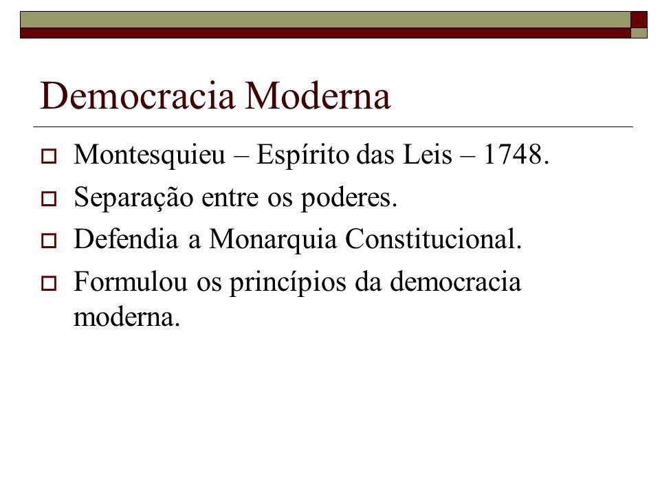 Democracia Moderna Montesquieu – Espírito das Leis – 1748.