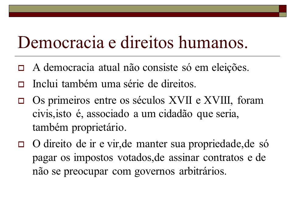 Democracia e direitos humanos.