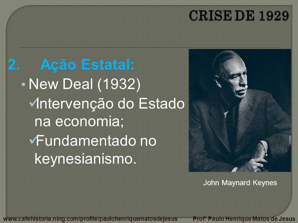 Intervenção do Estado na economia; Fundamentado no keynesianismo.