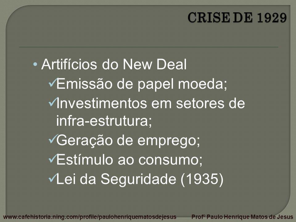 Emissão de papel moeda; Investimentos em setores de infra-estrutura;