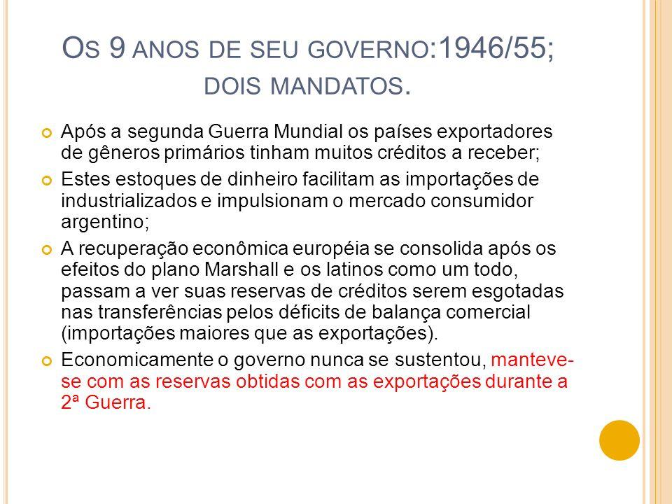 Os 9 anos de seu governo:1946/55; dois mandatos.