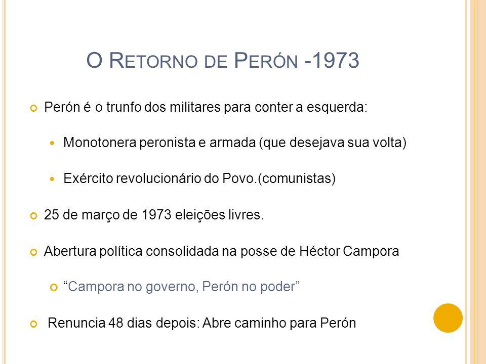 O Retorno de Perón -1973Perón é o trunfo dos militares para conter a esquerda: Monotonera peronista e armada (que desejava sua volta)