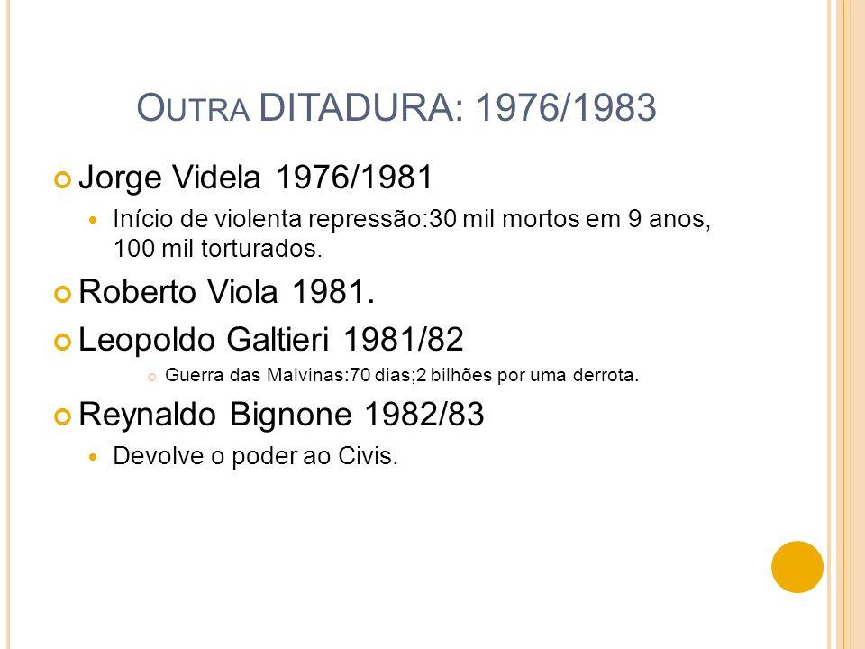 Outra DITADURA: 1976/1983 Jorge Videla 1976/1981 Roberto Viola 1981.