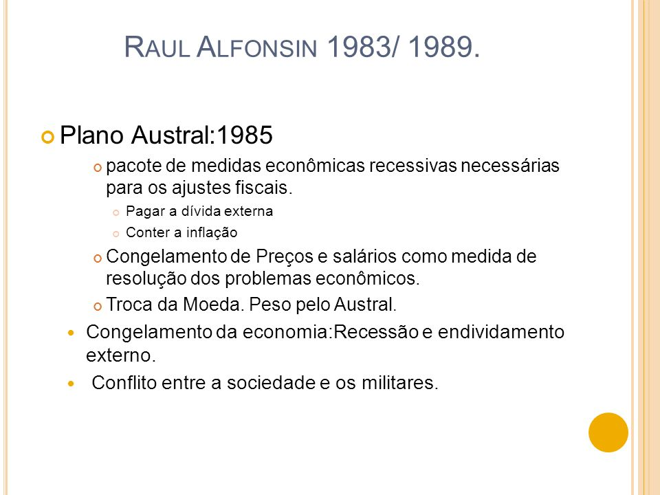 Raul Alfonsin 1983/ 1989. Plano Austral:1985