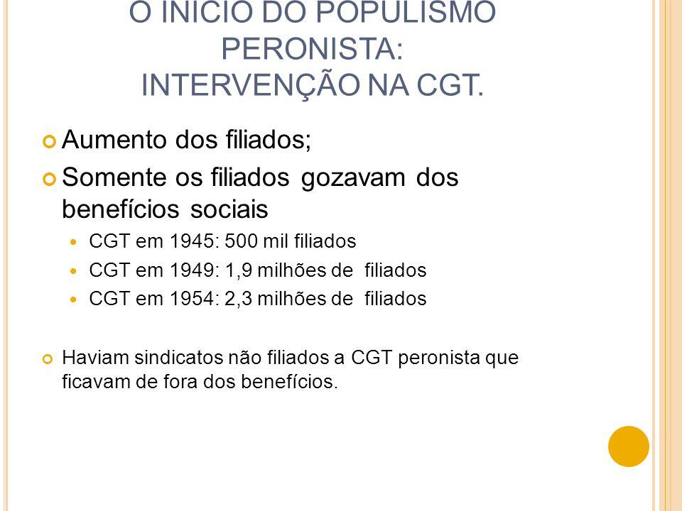 O INÍCIO DO POPULISMO PERONISTA: INTERVENÇÃO NA CGT.
