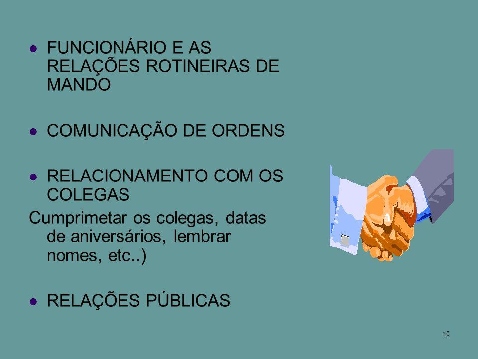 FUNCIONÁRIO E AS RELAÇÕES ROTINEIRAS DE MANDO