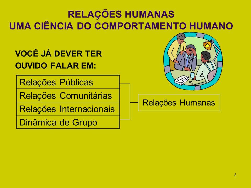 RELAÇÕES HUMANAS UMA CIÊNCIA DO COMPORTAMENTO HUMANO