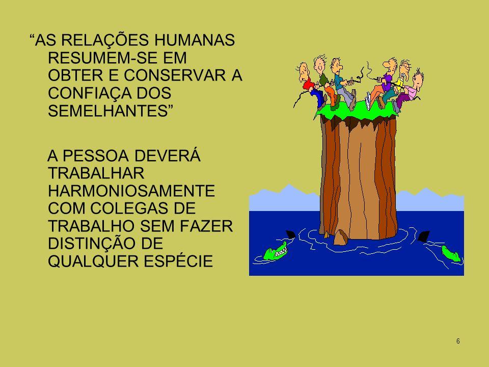 AS RELAÇÕES HUMANAS RESUMEM-SE EM OBTER E CONSERVAR A CONFIAÇA DOS SEMELHANTES