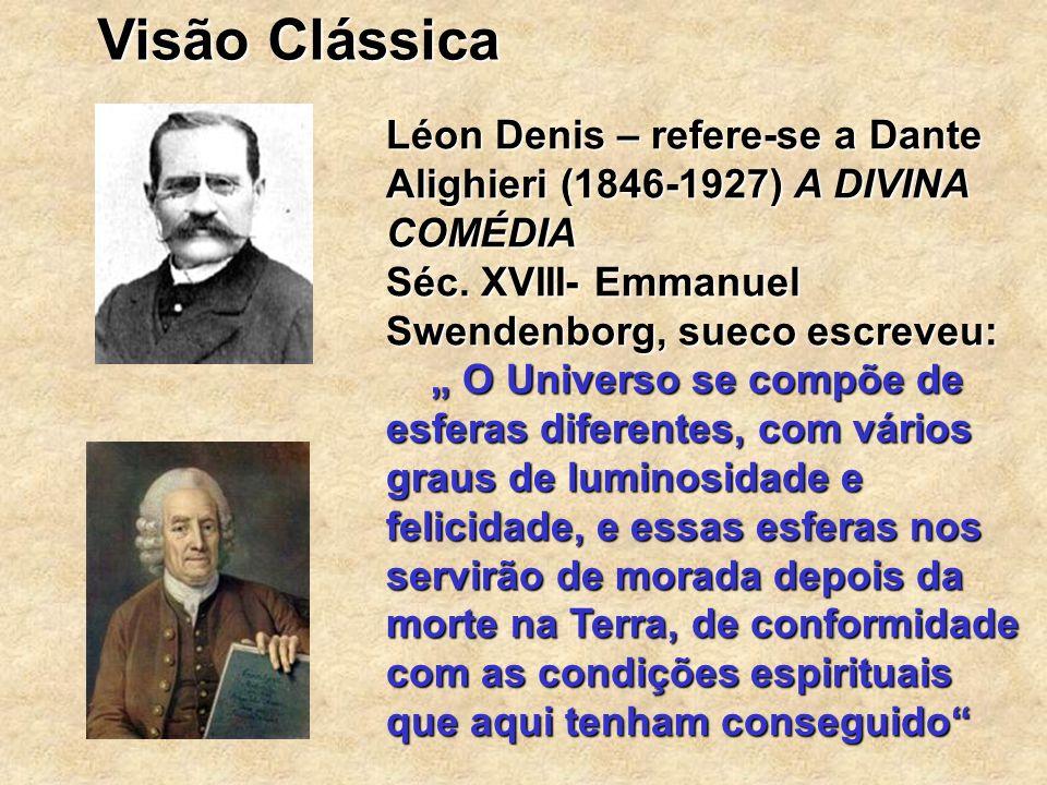 Visão Clássica Léon Denis – refere-se a Dante Alighieri (1846-1927) A DIVINA COMÉDIA. Séc. XVIII- Emmanuel Swendenborg, sueco escreveu: